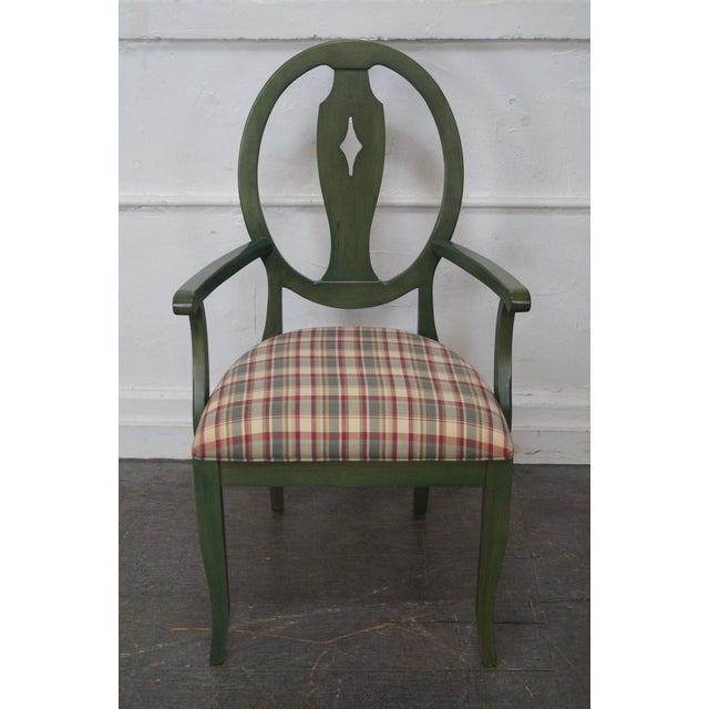 Ethan Allen Country Green Painted Arm Chair - Image 3 of 11