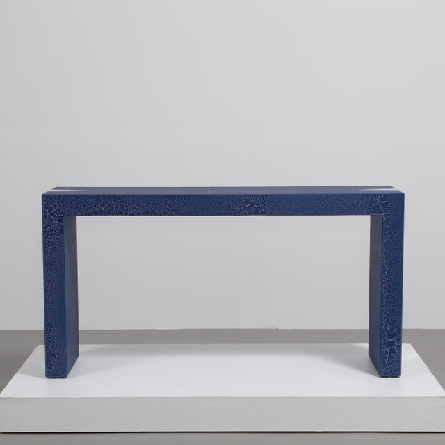 Contemporary The Crackle Console Table by Talisman Bespoke (Navy and Silver) For Sale - Image 3 of 6