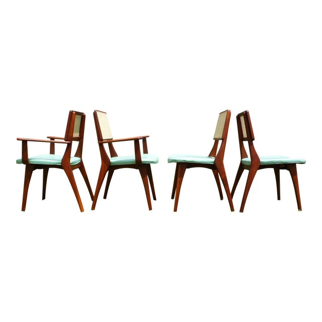 Mid-Century Modern Walnut & Cane Dining Chairs - Set of 4 For Sale