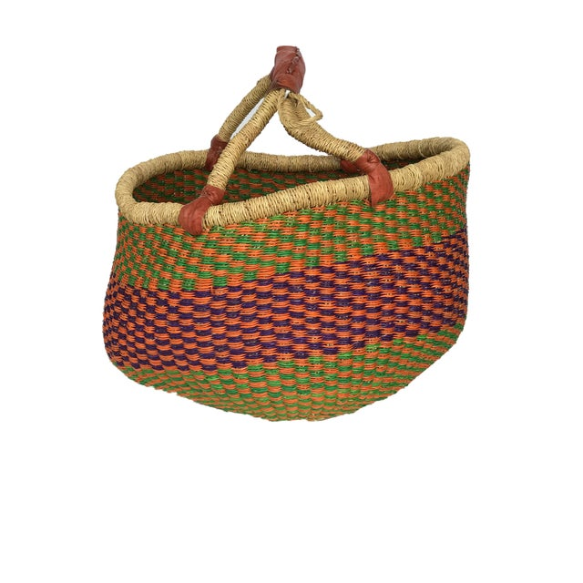 African Ghana Bolga market basket, These baskets are a traditional shape from the Bolga tanga region of Northern Ghana....