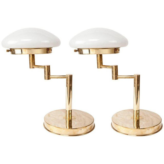 Mid-Century Modern Adjustable Brass Table Lamps with Milk Glass Shades - a Pair For Sale In Nantucket - Image 6 of 6