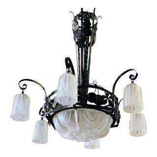 1930s Muller Freres French Art Deco Chandelier Signed by Muller Frères Luneville For Sale