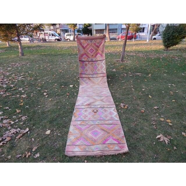 Vintage Kurdish Turkish Kilim Runner Rug 2′7″ × 11′9″ For Sale - Image 9 of 13
