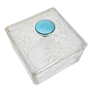French Guilloche Handle Glass Powder Dresser Box For Sale