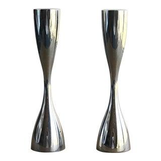 1994 Karim Modern Silvertone Nambe Candlesticks — a Pair For Sale