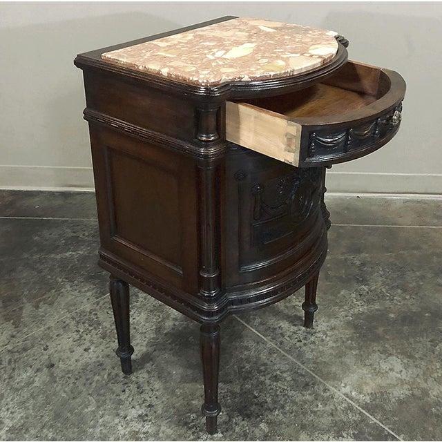 Wood Pair 19th Century Italian Walnut Louis XVI Marble Top Nightstands For Sale - Image 7 of 13
