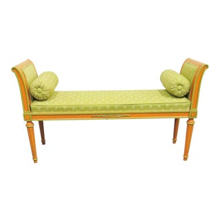 Louis XVI Custom Painted Window Bench For Sale