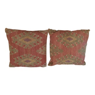 Pottery Barn Kilim Pillow Shams - A Pair For Sale