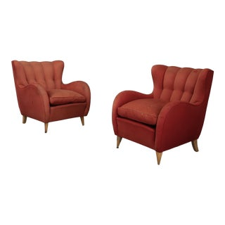 Pair 40s Armchairs Attributed to Gio Ponti For Sale