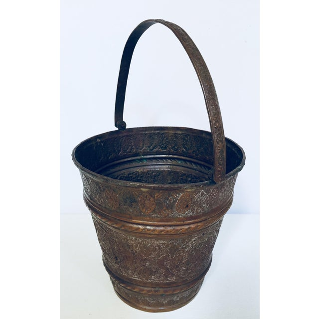 Metal Anglo-Raj Mughal Metal Copper Vessel Bucket For Sale - Image 7 of 12