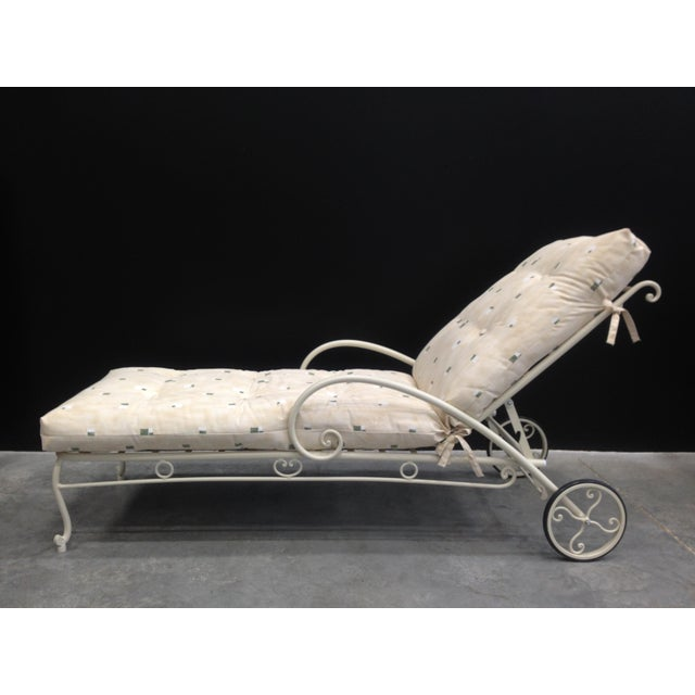 Vintage French Style Wrought Iron Chaise Longue With Cushion For Sale - Image 4 of 6