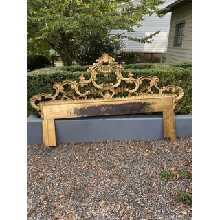1950s Italian Gold Gilt Ornate Carved King Headboard Preview