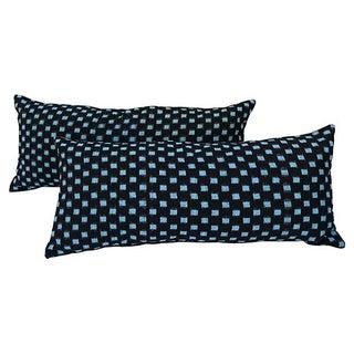Japanese Ikat Indigo Lumbar Pillows - Pair For Sale