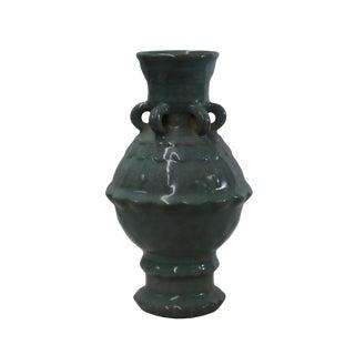 Chinese Ru Ware Light Celadon Green Gray Tone Ceramic Vase For Sale