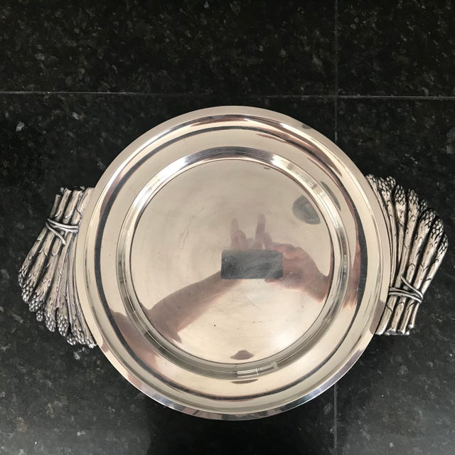 "Metal Italian ""Teghini Firenze"" Silver Plated Serving Platter With Asparagus Handles For Sale - Image 7 of 7"