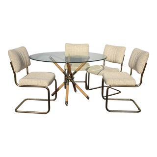 1970s Mid Century Modern Chromcraft X Dining Set - 5 Pieces For Sale