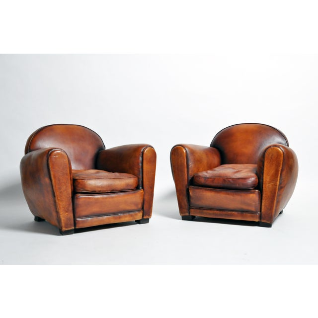 1960s Vintage French Brown Leather Armchairs - a Pair For Sale - Image 13 of 13
