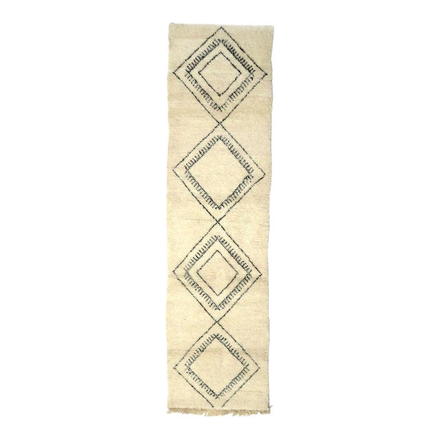 Moroccan Beni Ourain Runner Rug - 2′9″ × 10′7″ For Sale