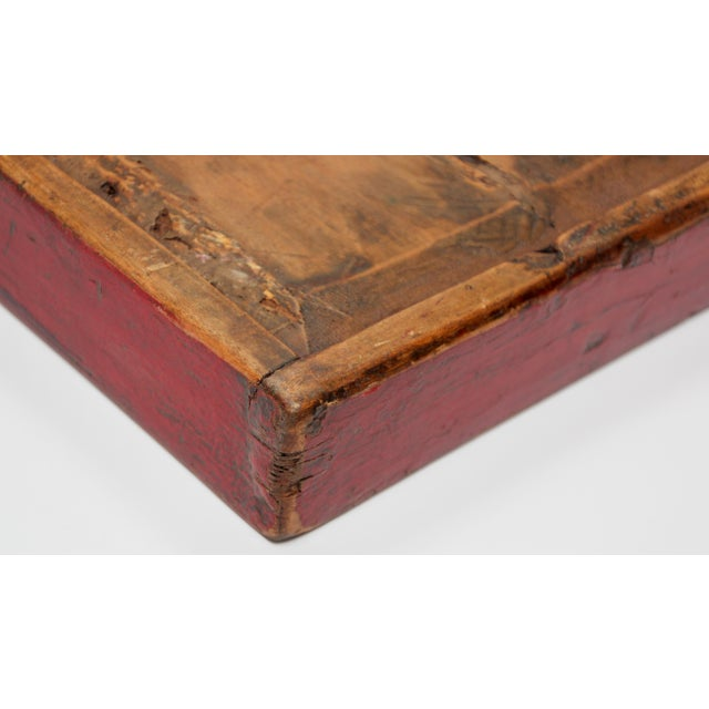 Chinese Antique Red Hand Painted Wood Tray For Sale In Los Angeles - Image 6 of 13