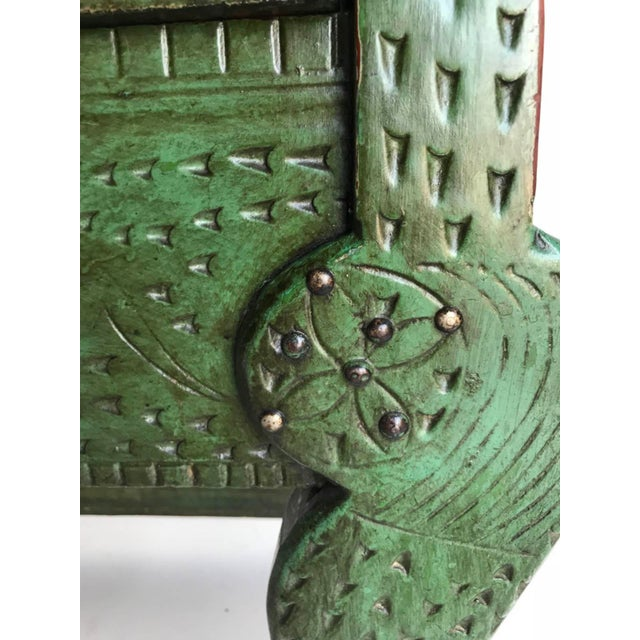 Green Antique Painted Guatemalan Nahuala Lion's Leg Folk Art Table With Five Drawers For Sale - Image 8 of 11