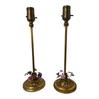 1920's Vintage Tole Table Lamps - a Pair For Sale