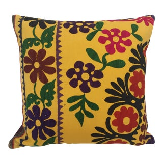Vintage Large Yellow Suzani Embroidery Decorative Throw Pillow From Uzbekistan For Sale