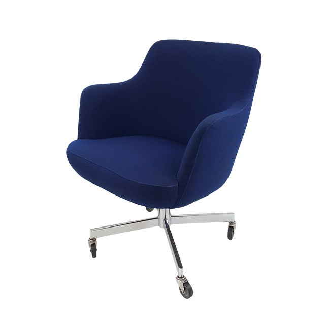 Mid Century Blue Upholstered And Chrme Desk Chair