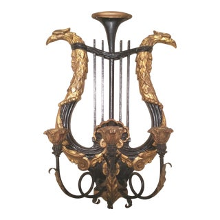 1950s Vintage Neoclassical Black and Gold Lyre Back Carved Wood 3 Arm Candle Sconce For Sale