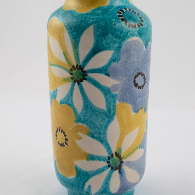 Alvino Bagni for Raymor Aqua Vase With Flowers, Circa 1960s For Sale - Image 10 of 12