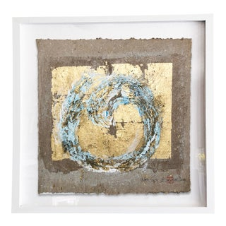 Wabi-Sabi.II Gold Leaf/Hand Made Japanese Parchment Painting For Sale