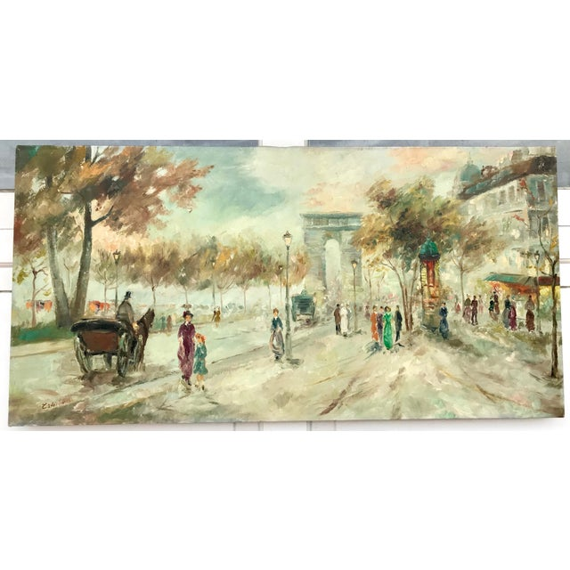 Contemporary oil painting on canvas of an old Fashioned Paris City Street Scene in pastel hues. The painting shows a busy...