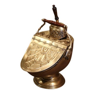 19th Century English Victorian Repousse Brass Coal Bucket With Original Scoop For Sale