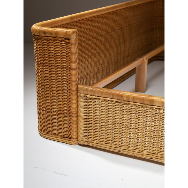 1960s Double Bed Wicker Frame by Adalberto Dal Lago for Germa For Sale - Image 5 of 7