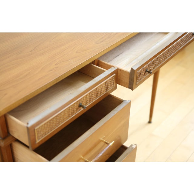 Mid Century Danish Modern Cane Writing Desk For Sale - Image 9 of 9