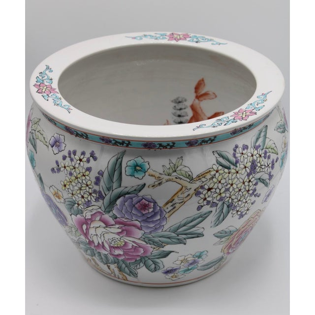 Late 19th Century Large Chinese Porcelain Lotus Flower Koi Fish Bowl Garden Planter For Sale - Image 5 of 10