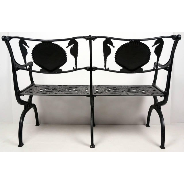1950s Cast Aluminium Seahorse and Shell Motif Garden Settee by Molla, 1950s For Sale - Image 5 of 11