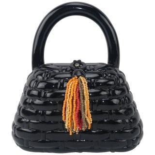 Vintage Timmy Woods Black Lacquer Wooden 'Basket' Handbag For Sale