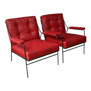 1950s Vintage Red Vinyl & Black Iron Porch Lounge Chairs- A Pair For Sale