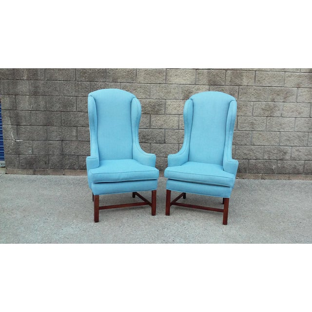 Mid Century High Back Wing Arm Chairs-A Pair For Sale In Detroit - Image 6 of 6