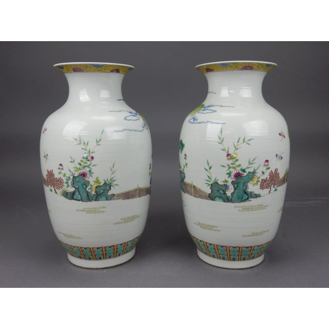 Gorgeous Pair of Chinese Famille Rose Mirror Imaged Immortal Vases For Sale - Image 4 of 13