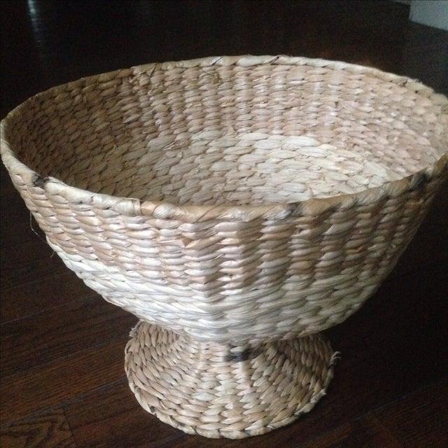 Vintage Natural Straw Pedestal Bowl - Image 7 of 11