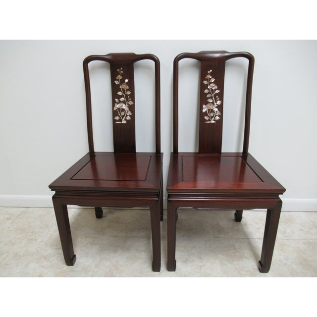 1970s Vintage Chinese Chippendale Rosewood Mother of Pearl Dining Room Chairs - A Pair For Sale - Image 12 of 12