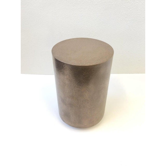 Contemporary 1980s Bronze and Chrome Drum Table by Steve Chase For Sale - Image 3 of 8