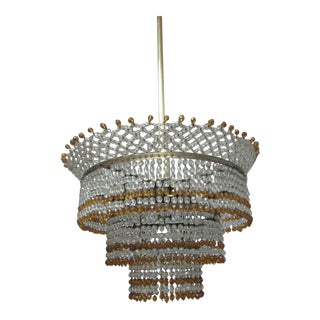 Venetian Mid-Century Modern Beaded Glass Pendant or Chandelier, 1930