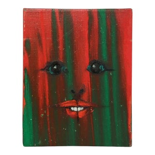 Red and Green Pixie Face Painting by A. Radoczy For Sale