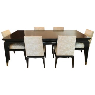 Dining Table With Six Chairs With Brass Inlay After James Mont For Sale