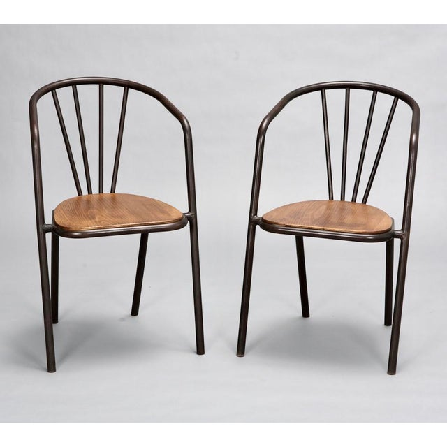 French Mid-Century Metal and Wood Armchairs - Set of 6 For Sale - Image 3 of 9