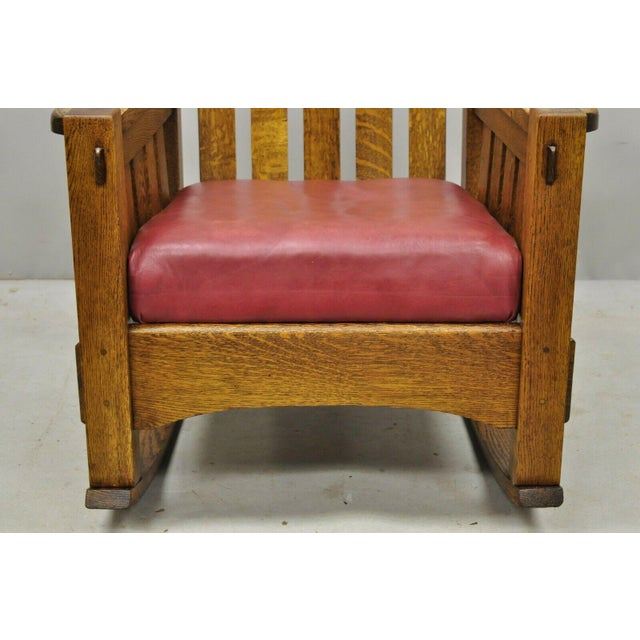 Early 20th Century Harden Mission Oak Arts & Crafts Stickley Style Rocking Chair Rocker Armchair For Sale In Philadelphia - Image 6 of 13