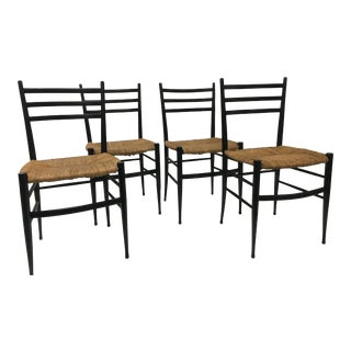 1960s Vintage Chiavari Rush Seat Ladderback Spinetto Dinning Chairs- Set of 4 For Sale