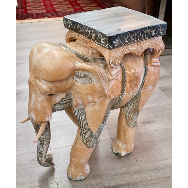 Contemporary Carved Wood Elephants - a Pair For Sale - Image 3 of 6